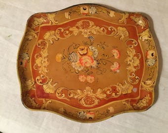 Hand Painted Paper Mache Tole Dresser TRAY