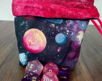 Reversible VAPOR WAVE Dice Bag with Pink Paracord