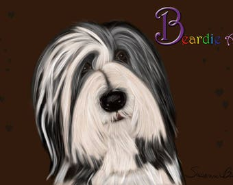 Hand-drawn Bearded Collie greeting card, brown background with hearts and white background