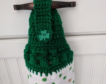Hanging Kitchen Towel Irish Crochet Top Towel Clover Shamrock Hand Towel St. Patrick's Day