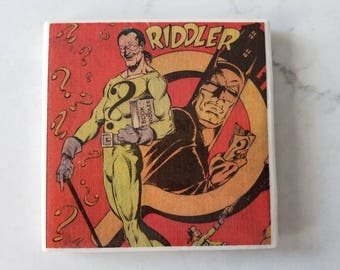 The Riddler (Batman) Comic Book Ceramic Tile Coaster 1980's