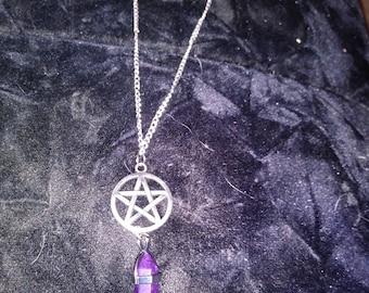 Crystal with Pentagram Charm