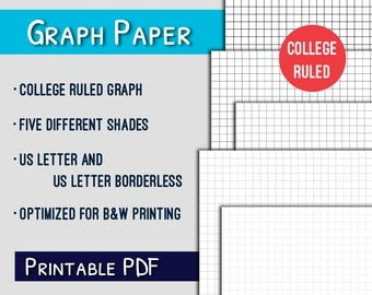 Graph Paper Printable  College Ruled Letter Graph Paper Printable,  Grayscale, PDF  Printable College Ruled Paper
