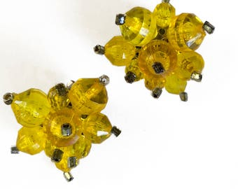 Yellow Bead Cluster Earrings