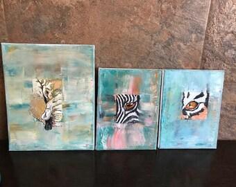Jungle, Elephant, tiger, zebra