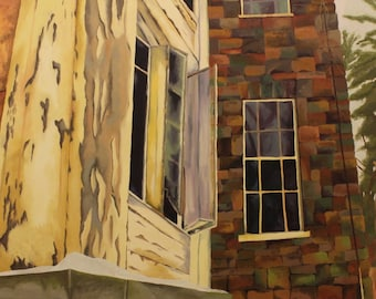 Original Oil painting of unique perspective of abandoned building