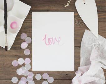 "Original watercolor print ""Love""- Unframed"