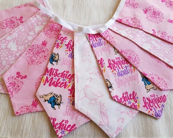 Fabric Bunting - 1.75 m/5.8 ft  with 9 double sided flags - Peter Rabbit Pink White Cotton  Easter Celebration Nursery Decor Baby Shower