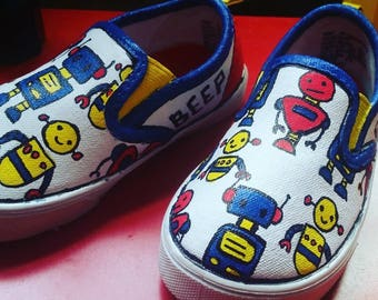 Hand Painted Toddler Shoes - Robots