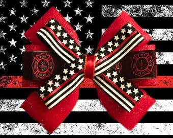 Thin Red Line Flag Firefighter Support Glitter Hair Bow
