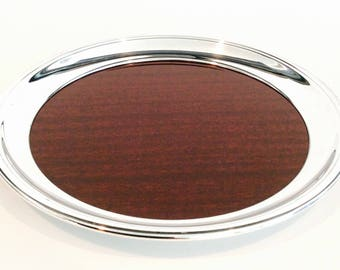 Vintage Crescent Silver Formica Wood Grain Round Antique Serving Tray