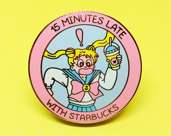 Late With Starbucks - Enamel Pin - Sailor Moon - Usagi