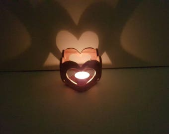 Wooden Candle Holder 4-Connecting Hearts