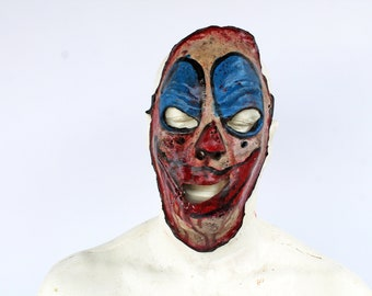 Scary Half Latex Bloody Skin Clown Mask with Zipper Mouth