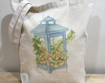 Succulents in lantern tote bag