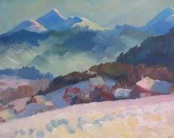 Winter Mountains, Landscape, Original painting, Canvas Painting,  Oil art by  Anna Trachuk