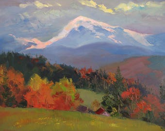 Аutumn Mountains,  Landscape, Carpathian Mountains, Original painting, Canvas Painting, Oil art by Anna Trachuk