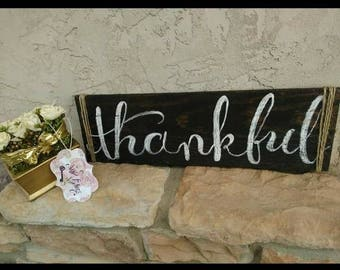 THANKFUL , BLESSED calligraphy rustic wood signs