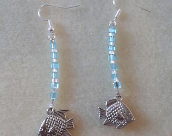 dangle earrings blue silver fish charm