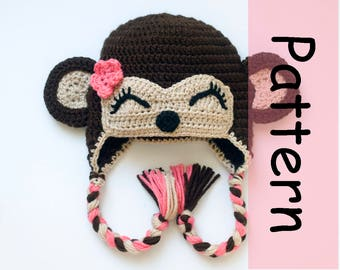 Sleepy MONKEY HAT PATTERN Baby Girl Hat Pattern, Baby Monkey Pattern, Earflap Crochet Hat Pattern, Baby Girl Hats Newborn Monkey Braided Hat