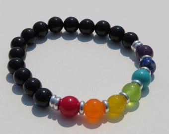 Rainbow bracelet with silver