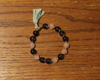 Smoky and Rose Quartz Mala Bracelet