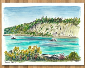 Watercolour Painting of Scarborough Bluff, Toronto, Ontario, Canada