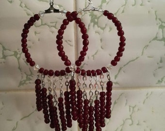 Red bead and cube earring
