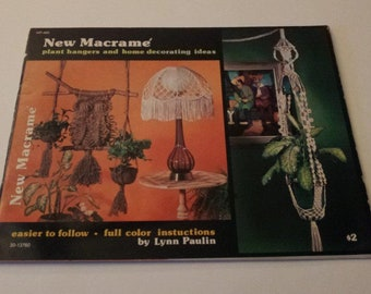 New Macrame plant hangers and home decorating Ideas Macrame Pattern Book, Vintage 1976