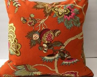 Bright Orange Woodsy Element Decorator Throw Pillow 20 Inch Square