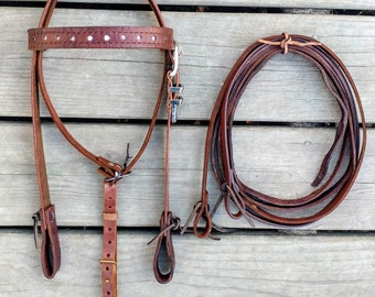Handcrafted Western horse bridle w/reins