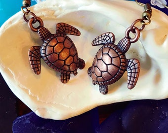 Copper Sea Turtle Earrings