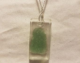 Exposed Sea Glass Pendant