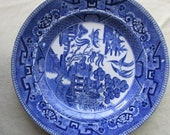 Early Blue Willow Dinner Plate Transferware England