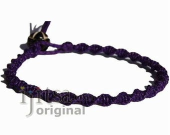 Purple twisted hemp twine thin bracelet or anklet