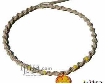 Natural Twisted Hemp, Yellow  Glass Beads with Yellow Flower Glass Pendant Surfer Style Choker Necklace