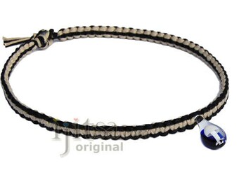 Black and natural flat wide hemp necklace blue and white mushroom glass pendant