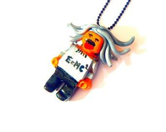 Necklace -- EINSTEIN, miniature man, silver and black, handpainted polymer clay