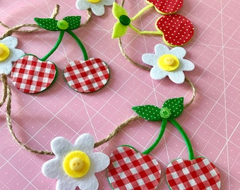 Cherries and Daisies Banner | Vintage Inspired | Kitchen Decor | Gallery Wall Decor | Photo Prop |