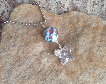 Japanese Bead Necklace Thai Hill Tribe Silver Butterfly