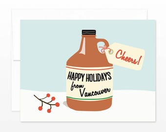 Vancouver Holiday Christmas Card - Cheers Growler! Happy Holidays from Vancouver - Beer Lover, Craft Beer Card