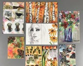 Set of art prints and art journal cards mixed media watercolors nature garden floral sfa small format art collage
