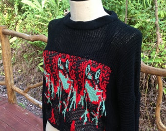 Frog sweater, Frogs on Small Medium oversize cotton sweater, fine knit black cotton top with frogs front panel, slouchy black sweater
