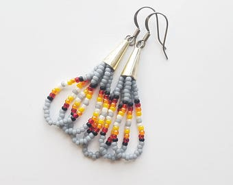 Beaded Gray Cone Dangle Earrings