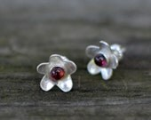 pink phlox stud earrings - tourmaline and sterling silver