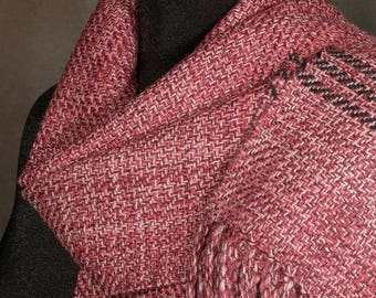 Hand woven scarf / merino wool / winter scarf / red orange