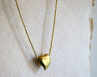 Vintage Brass Heart Necklace with vintage brass tube chain