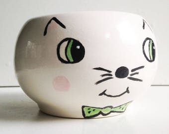 Kitty Cat Planter, White with Green Bow Tie, Ceramic Pot, Handmade, Succulent Planter, Cactus Pot, Modern Ceramic