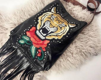 Recycled Black Crossbody Tote with Tiger Patch