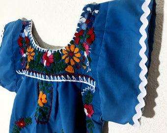 Mexican Baby Dress Embroidered Blue Fiesta Flower Girl Toddler Dress - 12 Months